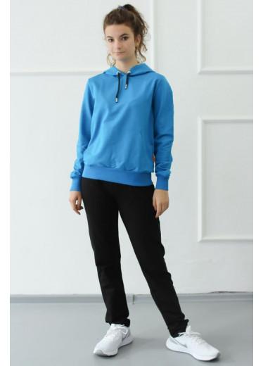 1380-1372 Спортивний костюм (блакитний-чорний)
