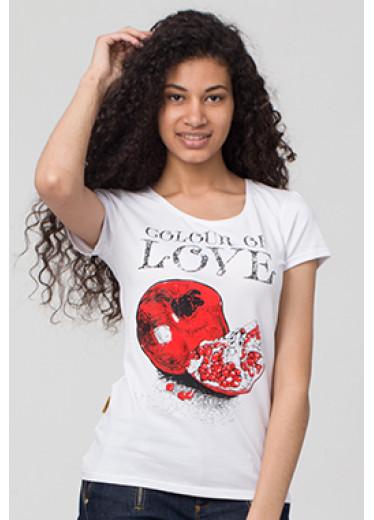 6111 Футболка - Color of love (сірий, кораловий)