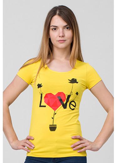 6113 Футболка - Love (сірий, кораловий)