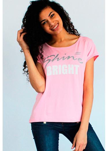 8104 Футболка - shine bright (рожевий, бежевий)