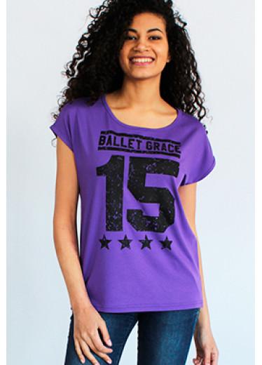 8105 Футболка - №15 (бежевий, фіолетовий)