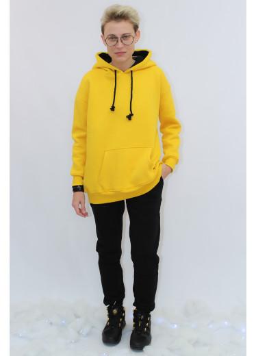672-351 Теплий Спортивний Костюм (жовтое худі/чорні штани)
