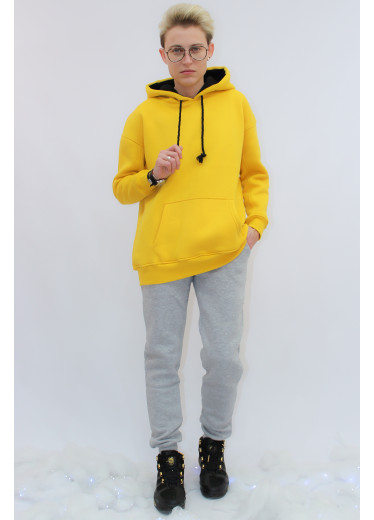 672-351 Теплий Спортивний Костюм (жовте худі/чорні штани)