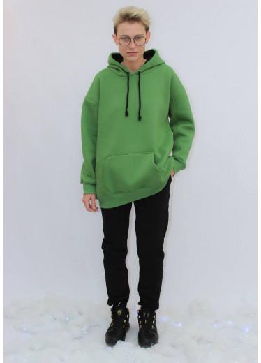 672-351 Теплий Спортивний Костюм (зелене худі/чорні штани)