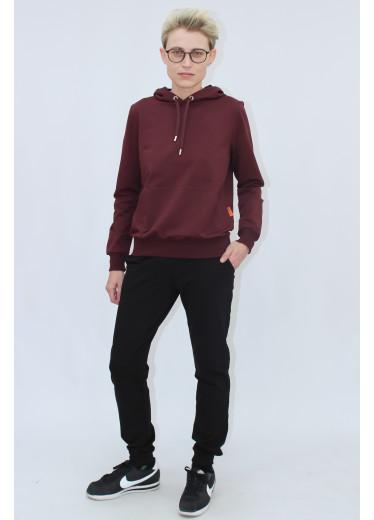 1580/0373 Спортивний костюм (бордове худі / чорні штани)