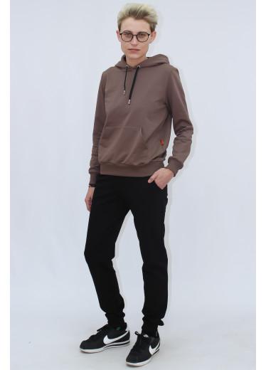 1580/0373 Спортивний костюм (кавове худі / чорні штани)