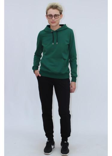 1580/0373 Спортивний костюм (зелений худі/чорні штани)