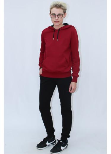 1580/0373 Спортивний костюм (червоне худі / чорні штани)