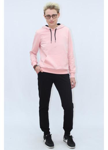 1580/0373 Спортивний костюм (рожеве худі / чорні штани)