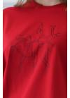 1261 Футболка з принтом Балерина (червона)