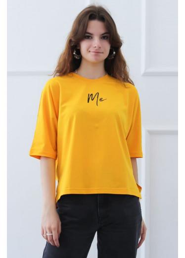 1262 Футболка з принтом ME (жовта)